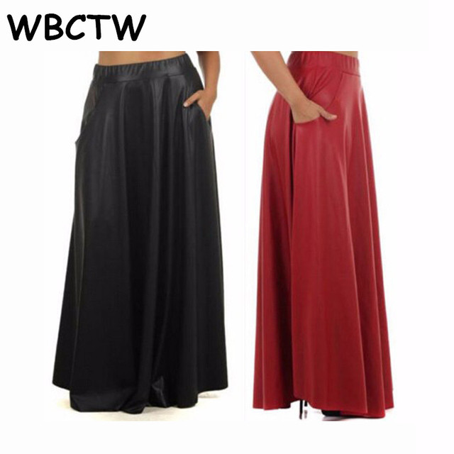 088d81acb95 WBCTW High Elasticity Pleated Skirts Autumn Spring Casual Long Leather  Skirts Womens Solid Black Fashion 10XL Plus Size Skirt