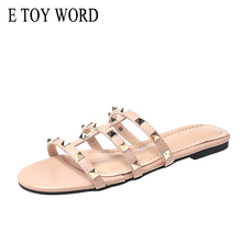 E TOY WORD Summer Women Slippers 2019 Fashion T Type Rivets Slippers PU Women flat shoes Beach Slides Women flip flops Sandals цена 2017