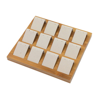 New 12 Seats Solid Wood Earrings Display Tray Microfiber Ear Stud Jewelry Display Exhibition Storage Stand Holder