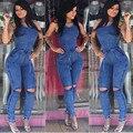 Nueva Llegada de Las Mujeres Jeans Monos Playsuit Mujeres Estilo Europeo Mono Overol de Mezclilla Sexy Bodysuit Mamelucos Niñas Jeans SL