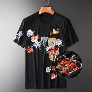 Image 1 - Minglu 100% Katoen Heren T shirts Luxe Diamant En Afdrukken Ronde Kraag Mannen T shirts Plus Size 4xl Slim Fit T shirts Man
