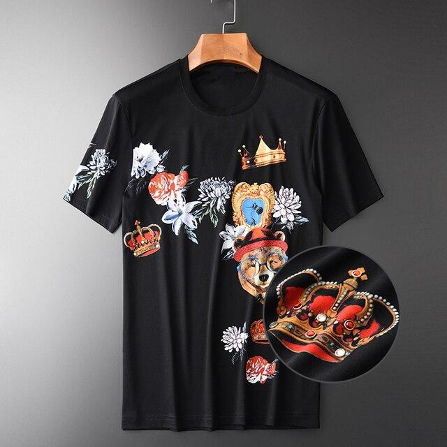 Minglu 100% Katoen Heren T shirts Luxe Diamant En Afdrukken Ronde Kraag Mannen T shirts Plus Size 4xl Slim Fit T shirts Man