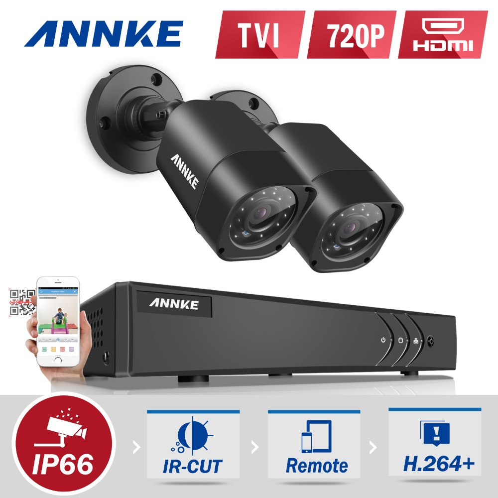 ANNKE 4CH HD TVI 1080N DVR 1500TVL Outdoor IR Day Night Security Camera System Surveillance kit NO HDD