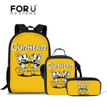 FORUDESIGNS Cuphead Games Printing School Bags Children School Backpack for Girls Kids Bags Teenager Schoolbag Students Mochila
