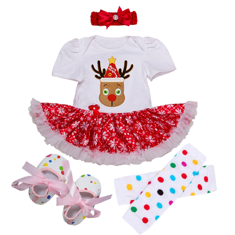 2018 Christmas Baby Girls Romper Xmas Gift Sets Girls Tutu Skirt Clothes Lace Bebes Clothing Santa Costumes Outfits jumpsuit