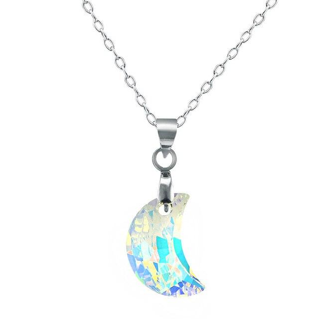Collar de piedra de la luna de cristal austriaco mujer media luna collar de piedra de la luna de cristal austriaco mujer media luna colgante de collar de aloadofball Gallery
