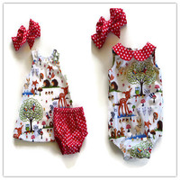 Sisters Dress Children Clothes European and American Baby Gilrs Romper Kids Costume Cartoon Girls Cute Family Clothing Outfits.