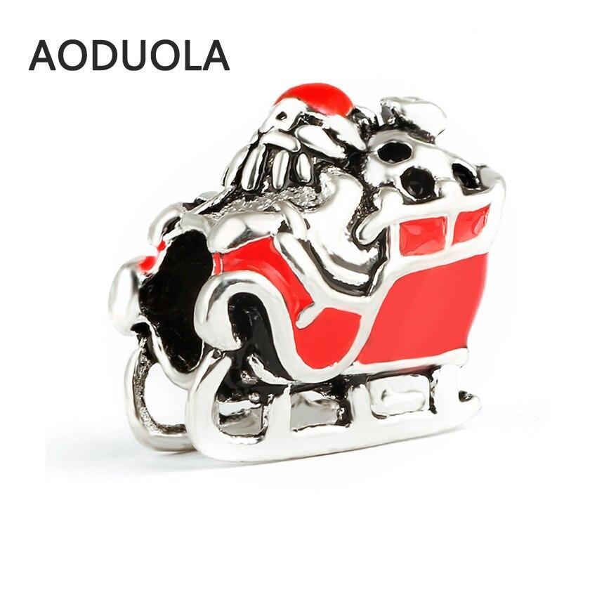 10 Pcs a Lot Christmas Santa Sleigh Ride Enamel Alloy Metal DIY Big Hole Beads Bead Char ...