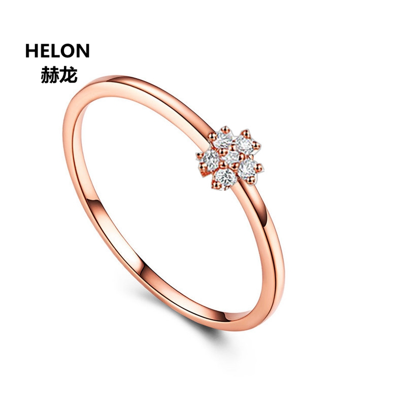 Solid 14k Rose Gold Natural Diamonds Women Ring Flower Trendy Engagement Wedding Ring Anniversary Party Jewelry new solid au750 rose gold ring women cute link party ring can adjustable ring
