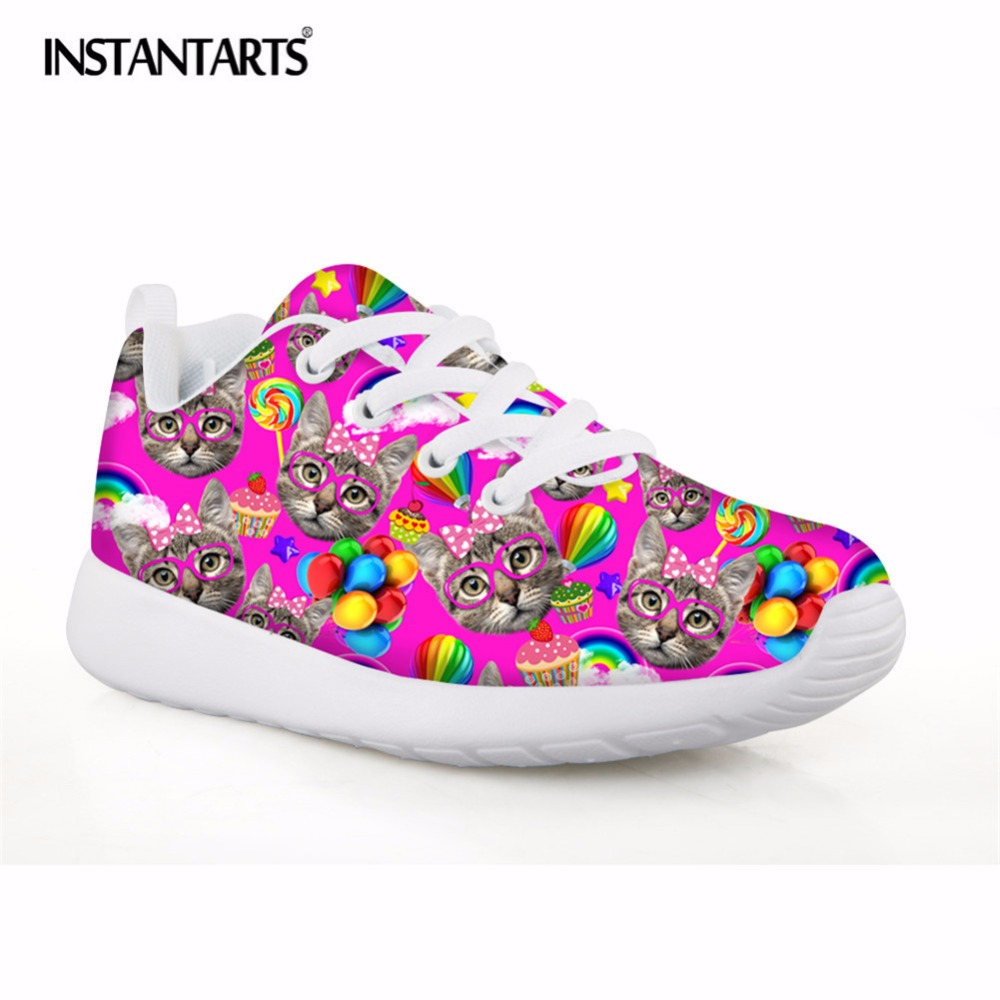 INSTANTARTS Cute Cat Printing Kids Sneakers 2018 Breathable Mesh Running Childrens Sport Shoes Lightweight Infant Athletic Shoes