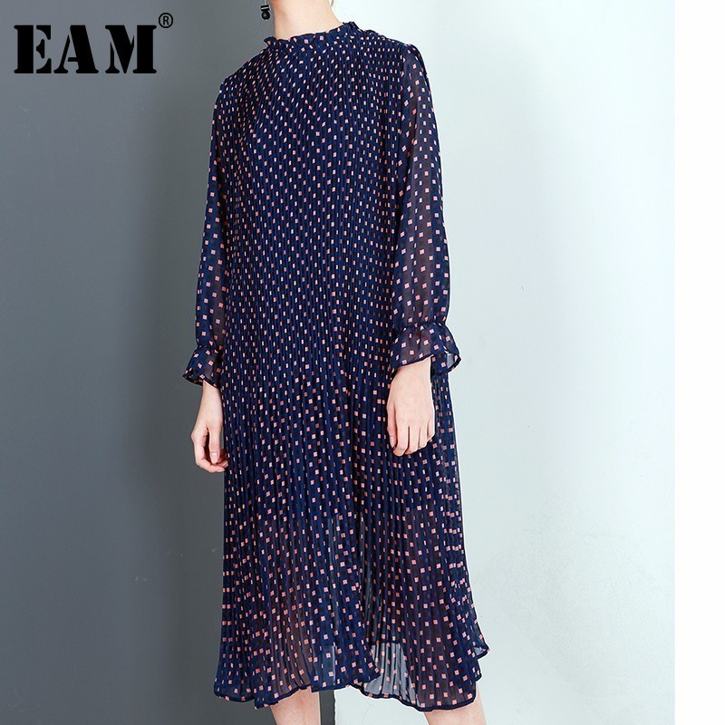 [EAM] 2018 New Spring Summer Round Neck Long Sleeve Blue Dot Printed Loose Solid Color Dress Women Fashion Tide JD89305