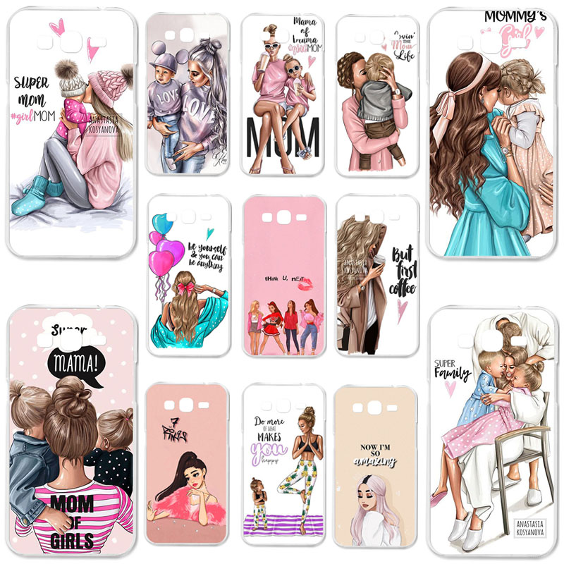 For <font><b>Samsung</b></font> Galaxy <font><b>Grand</b></font> <font><b>2</b></font> <font><b>G7102</b></font> G7105 G7106 <font><b>Case</b></font> Black Brown Hair Baby Mom Girl Soft TPU <font><b>Case</b></font> For <font><b>Samsung</b></font> A51 M40s <font><b>Cases</b></font> Bag image