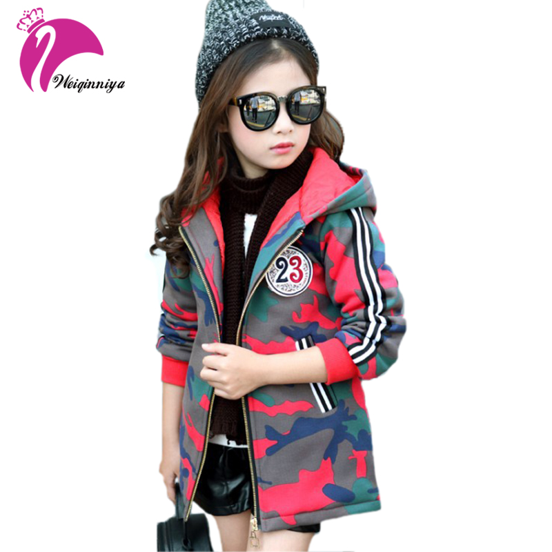 Fashion Winter Girls Jackets Warm Outerwear Outdoor Camouflage Clothing Casual Cotton Hooded Coats Kids Plus Velvet Clothes Hot fashion girl thicken snowsuit winter jackets for girls children down coats outerwear warm hooded clothes big kids clothing gh236