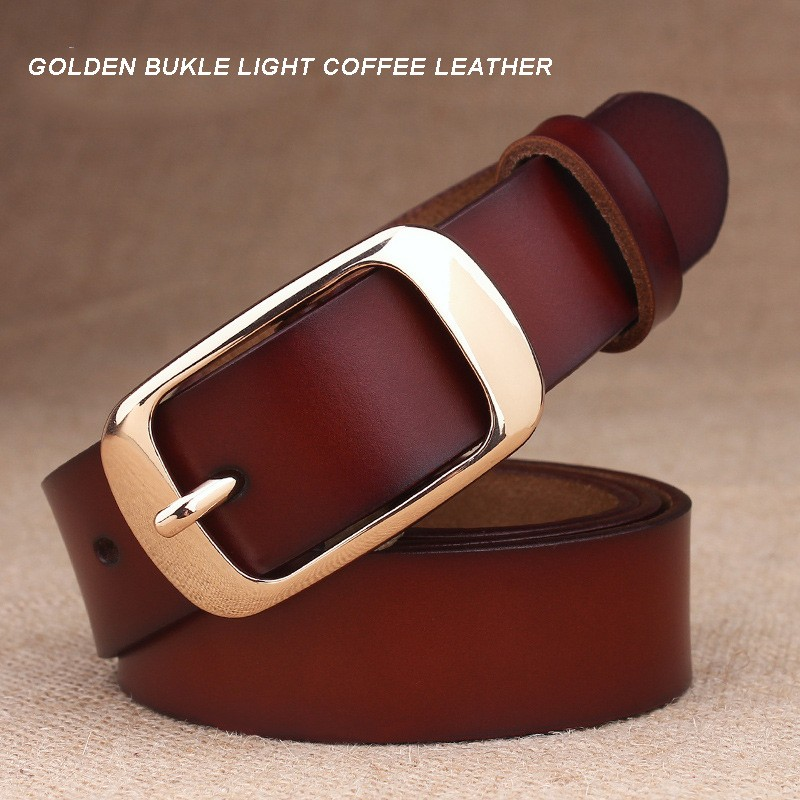 GOLDEN BUKLE LIGHT COFFEE LEATHER