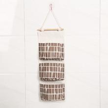 3 Pockets Flamingo Pattern Hanging Storage Bags Cotton Cosmetic Makeup Sundries Organizer Housekeeping & Amp Organization
