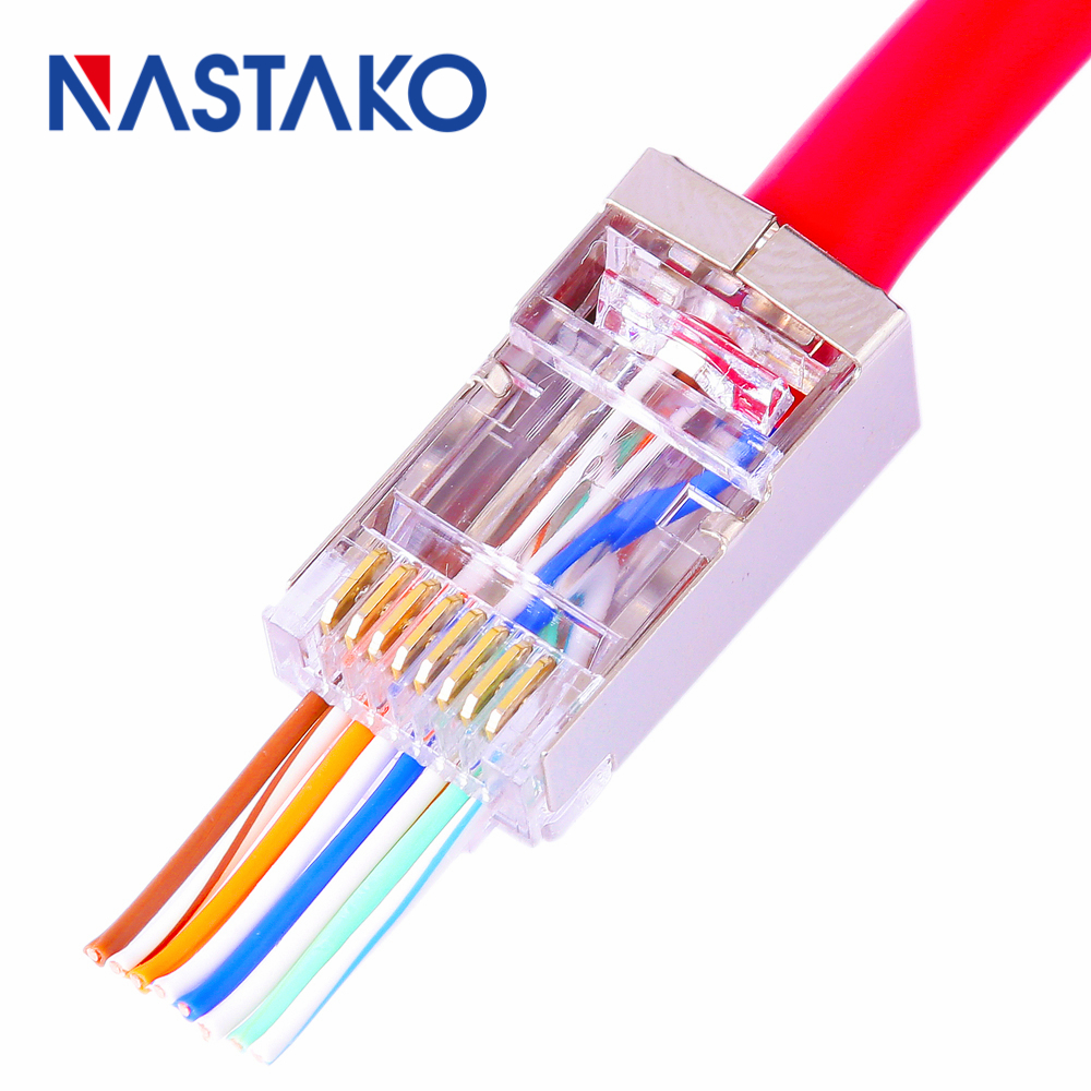 NASTAKO 50/100pcs EZ RJ45 Cat6 Connector Cat5e Cat6 Network Connectors 8Pin Shielded Modular Plug rj45 Jack Terminals have hole lemo 1b 6 pin connector fgg 1b 306 clad egg 1b 306 cll signal transmission connector microwave connectors