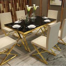 Набор столовой из нержавеющей стали, мебель для дома, минималистичный современный мраморный обеденный стол и 6 стульев, mesa de jantar muebles comedor