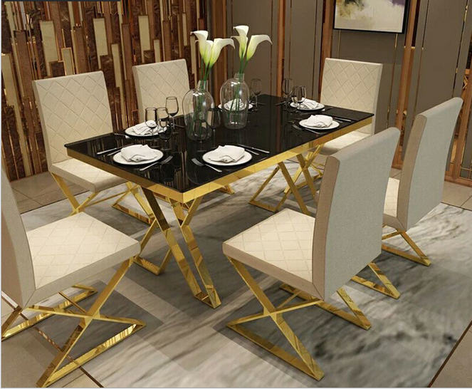 Us 949 05 5 Off Stainless Steel Dining Room Set Home Furniture Minimalist Modern Marble Dining Table And 6 Chairs Mesa De Jantar Muebles Comedor In