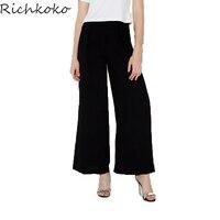 RichKoKo Mody Kobiet Czarne Spodnie Szerokie Nogawki Wysokiej Talii Kobiece Długo Legging Casual Style Luźna Kieszeń Szczupła Spodnie Dla Handlu Hurtowego