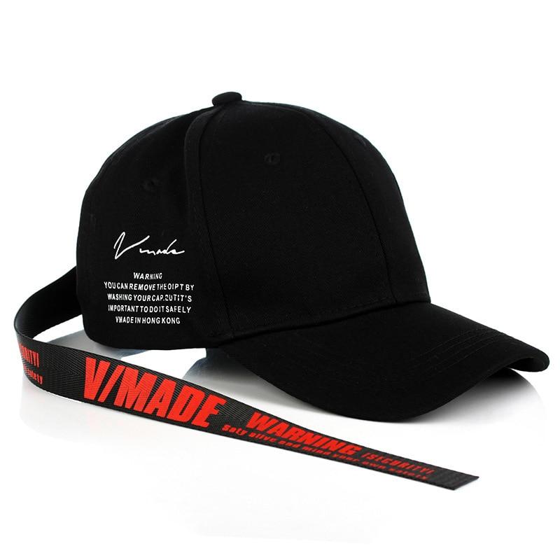 Branded VIMADE warning Long ribbon men's   baseball     cap   women Letter Snapback trucker   Cap   men Adult Hip Hop Dad Hat Bone Garros