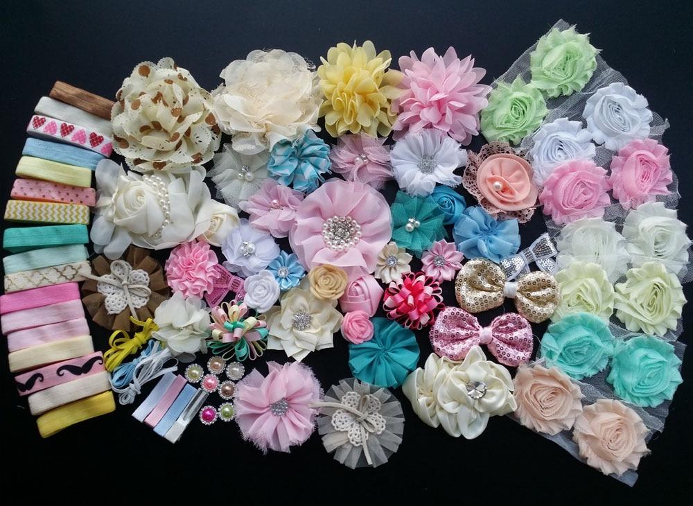 ФОТО Deluxe DIY accessories kits set , Shower Headband, shabby flowers Rose hair bow Trim ,Birthday christmas day gift N