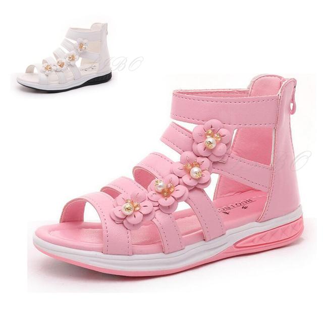 2016 Crianças das Sandálias Meninas Princesa Sapatos Crianças Sapatos Novos Sandálias de Verão Para As Meninas Estilo Romano Flores Meninas Sandálias Flat
