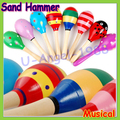 Wholesale 3pcs/lot Mini Wooden Ball Baby Boys Girls Toys Percussion Musical Instruments Sand Hammer 12cm