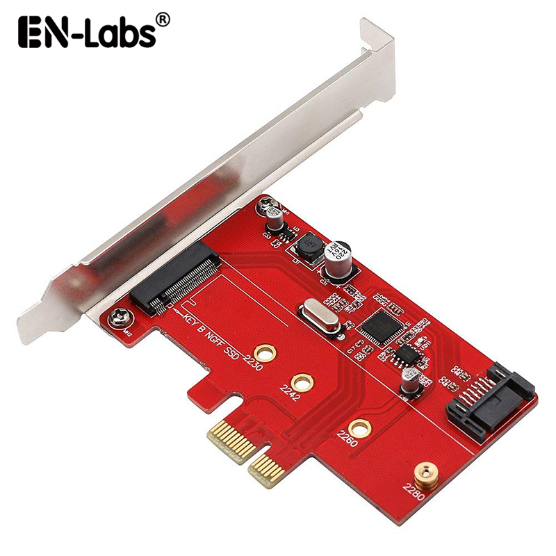 <font><b>PCIe</b></font> <font><b>X1</b></font> to <font><b>M.2</b></font>(NGFF)+SATA 6G (HDD/SSD) w/ Standard Profile Bracket,ASM1061 PCI-Express to B Key <font><b>M.2</b></font> SATA SSD 2280 2260 2242 2230 image