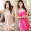Sexy Pijama de Cetim de Seda das Mulheres 2017 Novo Design Calças Curtas Pijamas Camisola Pijama Define Suspensórios Pijamas Rosa Bege