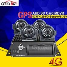 Видеонаблюдения 4ch 4 г реального времени удаленный monitorng AHD мобильный видеорегистратор с GPS трекером SD карты MDVR + 4 шт. сбоку/спереди AHD автомобильный комплект камеры