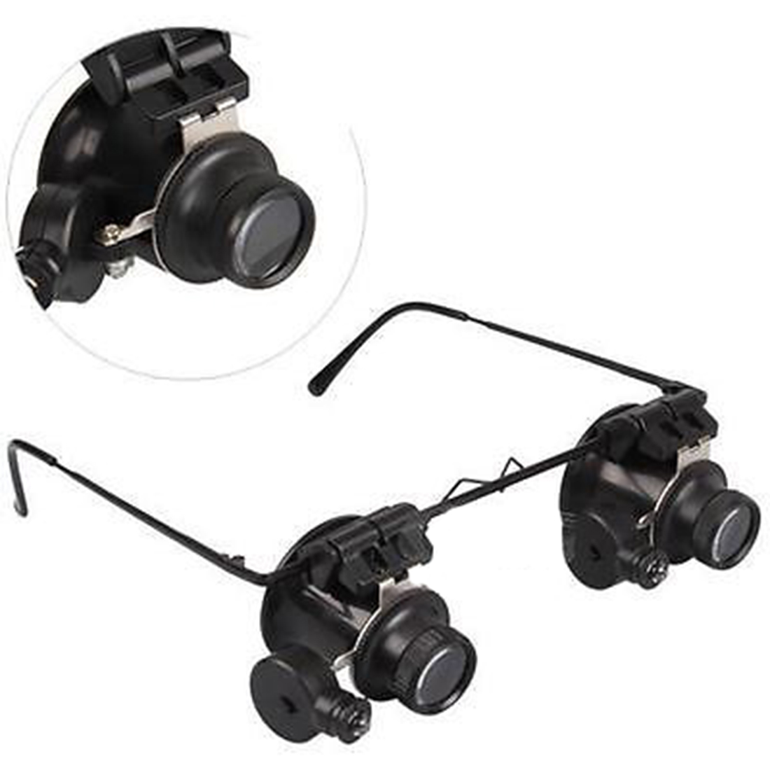 Double Eye Repair Magnifier Glasses 20X LED Mini Loupe Lens Magnifying Glas With Light Watch Microscope Measurement Tools magnifier 10x 15x 20x 25x led double eye glasses loupe lens jeweler watch repair measurement with 8 lens