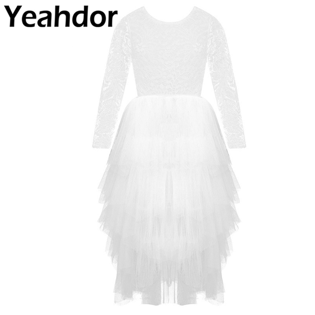 Kids Girls Lace Long Sleeves V shaped Back Tulle Tutu Flower Girl Dress for Wedding Pageant Birthday Party Princess Dress