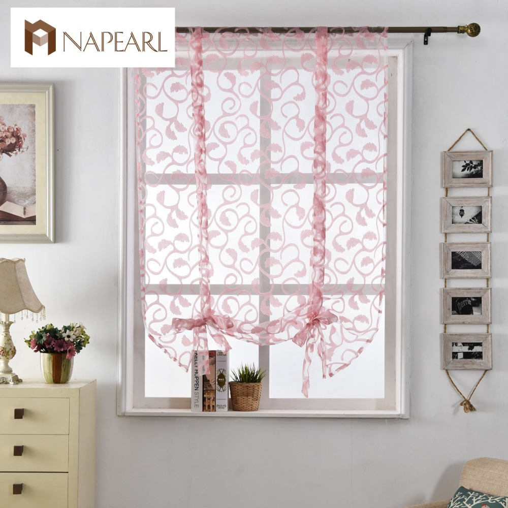 Curtains roman Kitchen curtains floral blinds short jacquard sheer ...