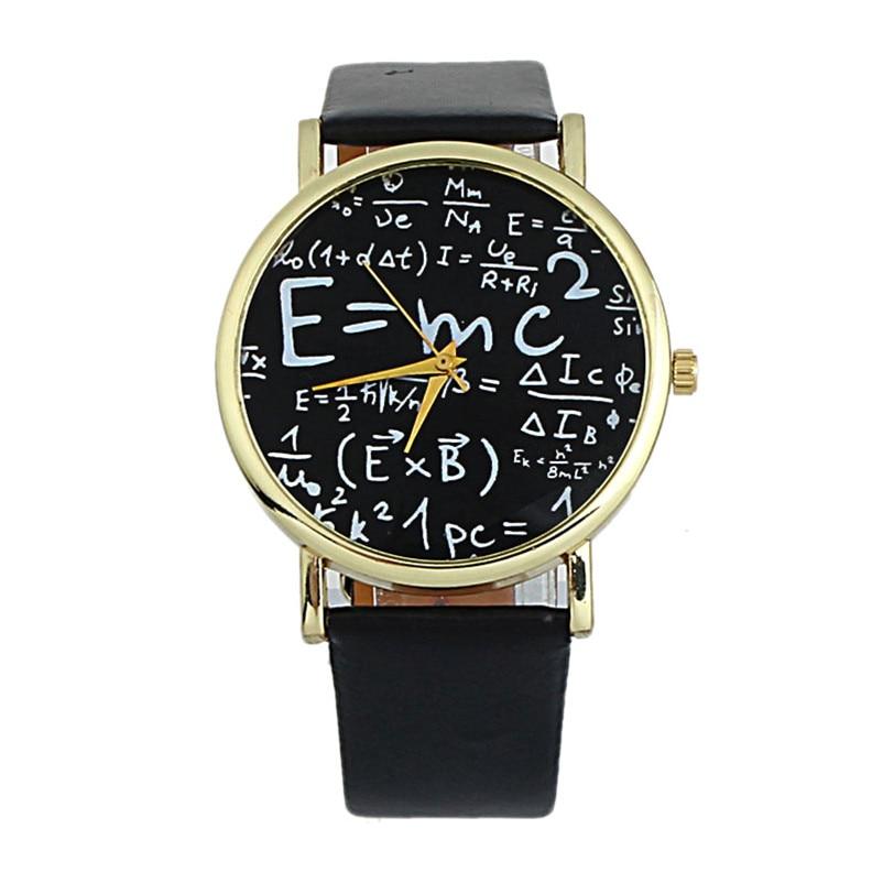 2018 Luxury Einstein E=MC2 Equation Mathematical Formula Math Symbols Faux Leather Analog Quartz Watch Watch Wristwatch mc2 игрушечный детектор лжи