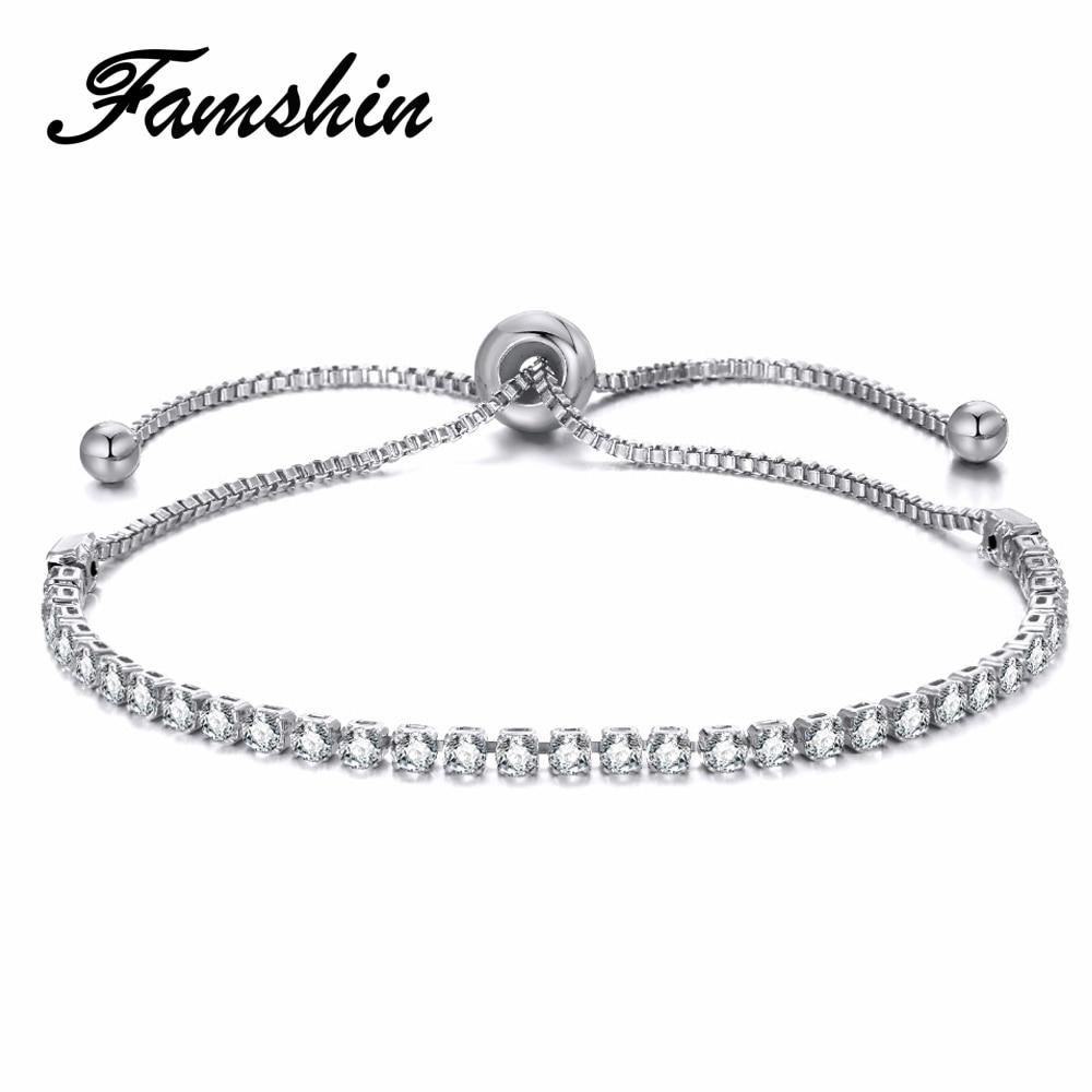 FAMSHIN Fashion Women Rhinestone Cubic Zirconia Bracelet Fashion Adjustable Bangles Jewelry Nice Bracelet Gift Party Jewelry