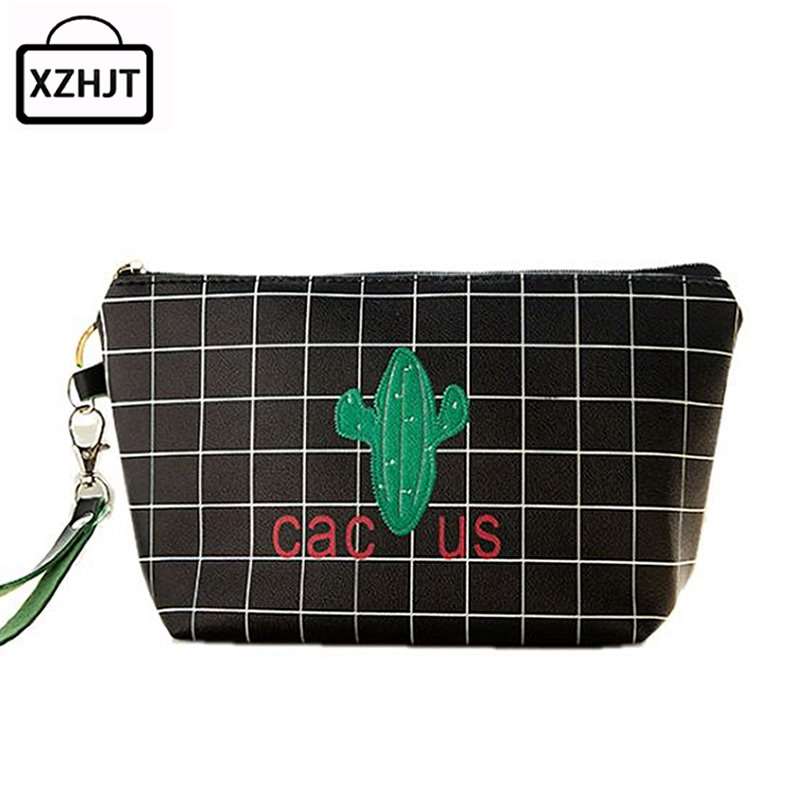 Casual Plant Cactus Cosmetic Bag Travel Makeup Case Women Zipper Make Up Bags Organizer Storage Pouch Toiletry Kit Wash Bags 3 set casual women travel cosmetic bag pvc leather zipper make up transparent makeup case organizer storage pouch toiletry bags