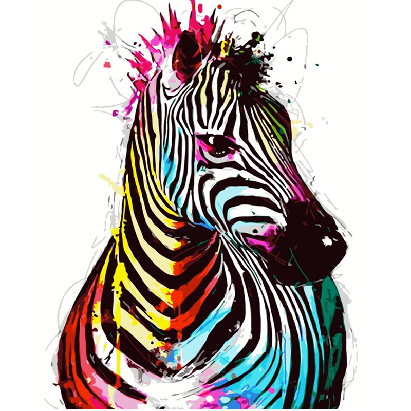 Multicolor Zebra Hand Made Paint High Quality Canvas Beautiful Painting By Numbers Surprise Gift Great Accomplishment