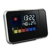 PORTABLE LED PROJECTOR BACKLIT LCDSCREEN ALARM CLOCK WEATHER STATION CLOCK