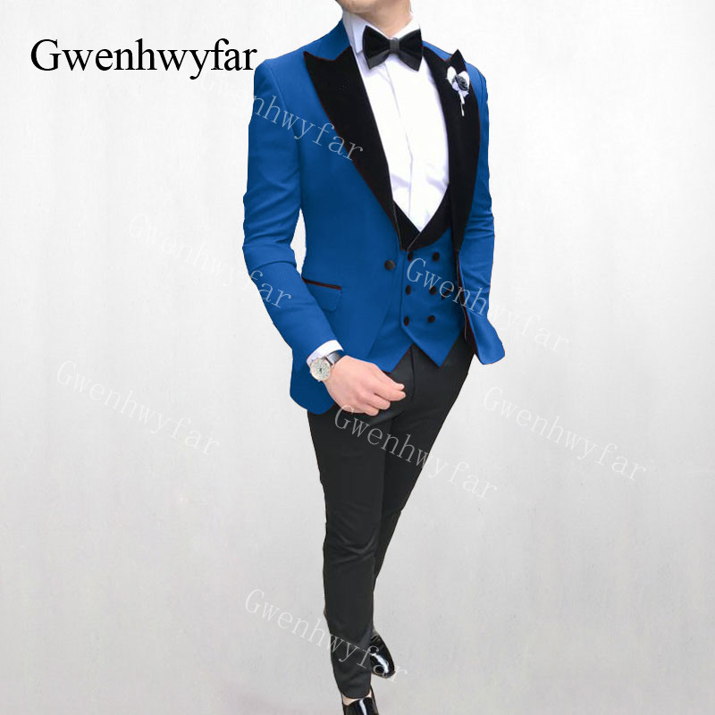 Gwenhwyfar Royal Blue Suit Men Peaked Lapel Groom Tuxedos Mens Suits Slim Fit Wedding Best Man Blazer Pants and Vest 3 pieces