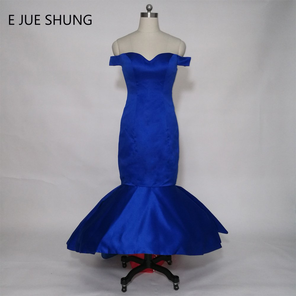 E JUE SHUNG Royal Blue Mermaid Backless Evening Dresses High Low Prom Dresses Front Short Long Back Party Dresses