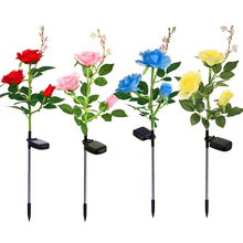 Solar light Outdoor Yard LED Light Garden 3 Head  Rose flower Decorative Lawn D20