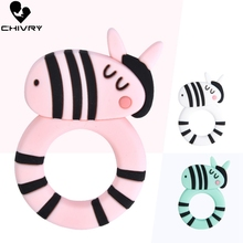 Chivry Cute Cartoon Baby Teether Food Grade Silicone Hippo Animal Shape Teething Necklace Toys DIY Newborn Gifts