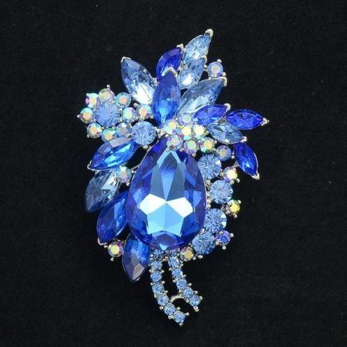 Винтаж синие кристаллы Rhinestone Drop Броши милый цветок брошь-кулон контактами для Для женщин оптовая продажа 4997