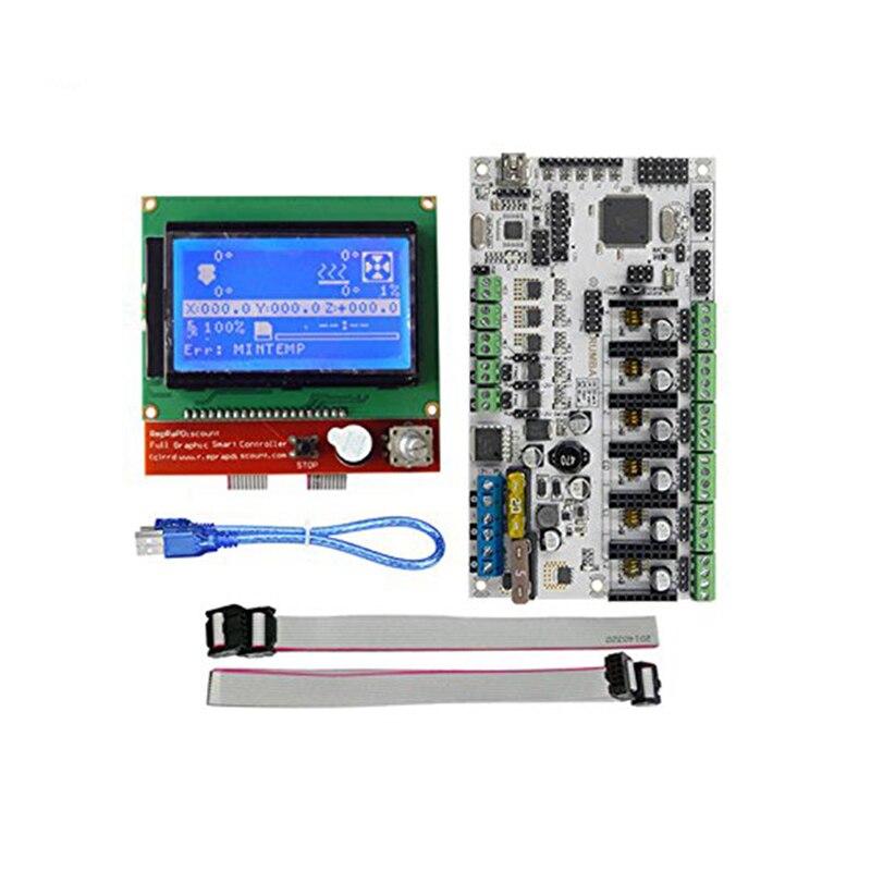 Rumba Plus Kits de démarrage d'imprimante 3D carte mère + écran LCD 12864 avec Kit de pièces de câbles