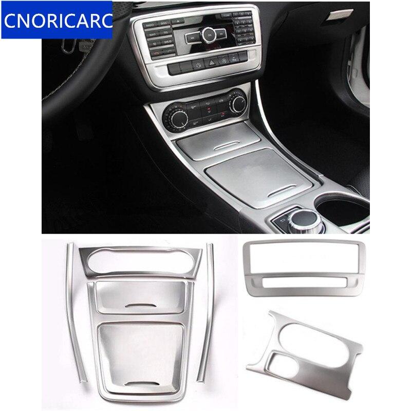 Caixa de Armazenamento Central CNORICARC Prata guarnição quadro Xícara de Água Do Ar Condicionado Do Carro painel de guarnição para Mercedes Benz CLA C117 GLA x156