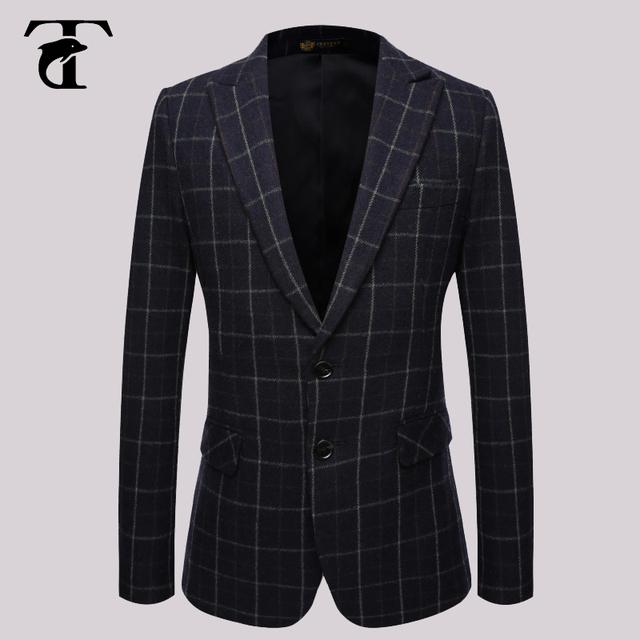 2016 Terno Formal Blazer Homens Terno Formal Escuro Italiano Ternos Formais Para Homens De Lã Mens Verificado Blazer