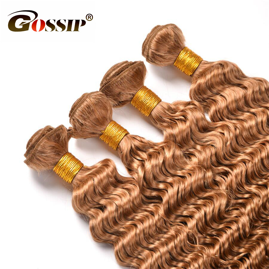 Gossip Honey Blonde Malaysain Curly Hair 3 Bundles Deal Ombre Human Hair Weave Bundles 27# Hair Extensions Non Remy (4)