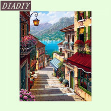 5D diy diamond embroidery picture of rhinestones diamond painting mosaic wall paint home decor needlework sea building AB056(China)