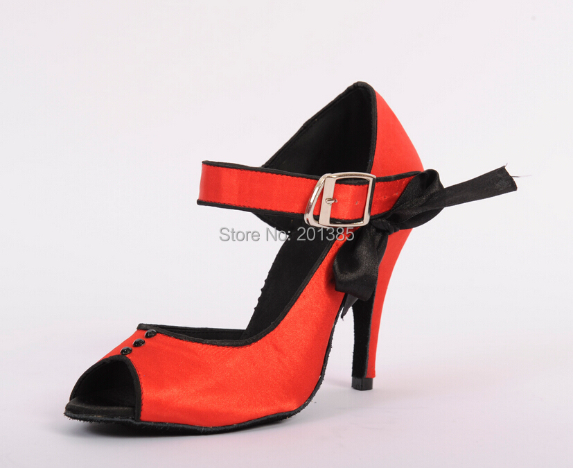 Wholesale Women Red Satin Ballroom LATIN Dance Shoes SALSA Dance Shoes Salsa Dancing Shoes ALL SIZE