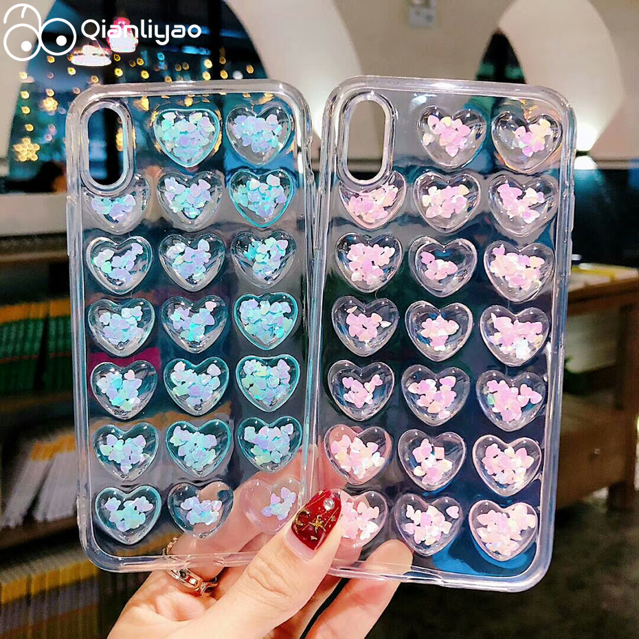 Qianliyao 3D Glitter Hearts Case For iPhone 11 Pro Max X XS XR XS Max Case Silicone TPU Cover For iPhone 6 6S 7 8 Plus SE Cases